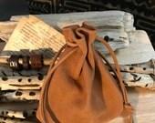Nubuck Leather Drawstring Pouch Bag - Native American Medicine Bag