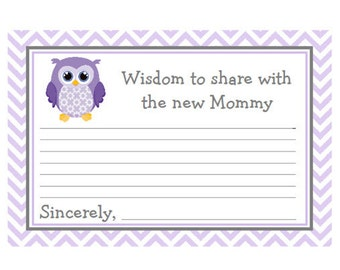 Baby Shower Mommy Advice Cards Purple Lavender Chevron with Owl  Words of Wisdom Instant Download