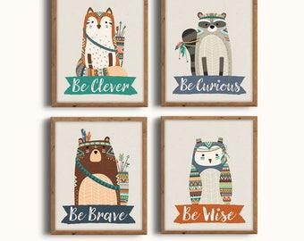 Forest Animals Set, Boho Nursery Decor, Tribal Nursery Art, Woodland Print Set, Be Brave, Be Curious, Be Wise, Be Clever, Digital Prints,
