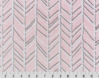 1 Yd Minky Herringbone Cuddle® Blush/Graphite (Shannon Fabrics) Yardage