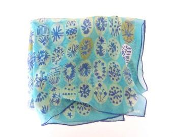 Vintage Vera Neumann scarf, sheer turquoise blue silk batik scarf