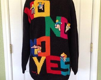 80s Humorous Novelty Sweater - Handmade in Peru
