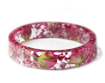 Pink Rose Flower Bracelet -Jewelry with Real Flowers- Dried Flowers- Pink Bracelet - Pink Dried Flowers- Pink Bracelet- Resin Jewelry