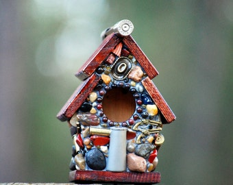 Mosaic Bullet Shell Birdhouse with Guns, Skeet, Cowboy hat and a mix of stones and agates table top decor fireplace mantel art conversation