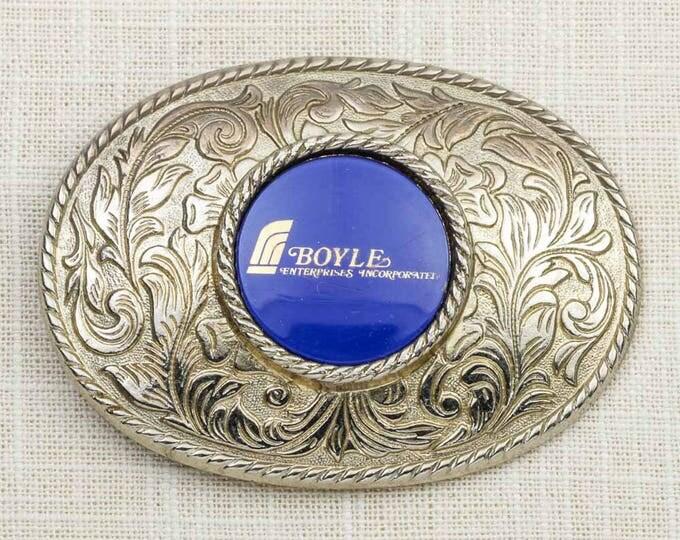 Boyle Enterprises Incorporated Belt Buckle Royal Blue Filigree Oval Vintage Belt Buckle 7F