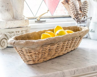 LAYAWAY for barbara: Vintage French Bread Baguette Basket, Wicker, Authentic, Bread Proving Basket, French Bakery