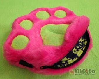 Paw Wallet - Handmade Zipper Pouch - 100% Fake Faux Fur -  Pawlet - Pink & Lime w Skulls