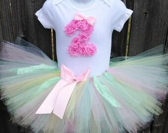 Pastel Birthday Tutu Set and Matching Headband | Pink, Blue, Yellow, Green Pastel Birthday Outfit | First Birthday, Second Birthday