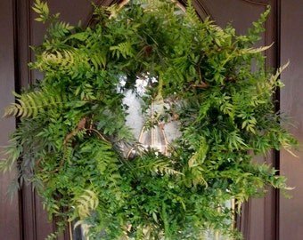 Wreath , Spring Wreath , Fern Wreath , Front Door Wreath , Woodland Wreath , Outdoor Wreath , Indoor Wreath