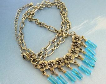 Gold Metal Flower Pendant Aqua Blue Glass Bead Necklace, Gold Victorian Necklace, Aqua Glass Beads Necklace, Mango Tease, FREE US SHIPPING