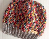 Colorful Messy Bun Hat, Ponytail Hat, Child Messy Bun, Carnival, Cupcake Hat, Child Size Hat, Chunky Hat, Adult Messy Bun Hat