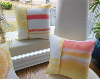 Ombre Pillow Coral Pillow Yellow Pillow Orange Pillow Tye Dye Pillow Reversible Pillow Stripe Pillow Shibori Pillow Yellow Pillow