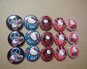 15 RN Nurse Hello Kitty  Inspired Character Pinback Button Shower Goody Gift Treat  Party Favors Brooches