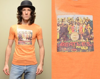 vintage Beatles t-shirt 60s Sgt Pepper tee shirt Stylewise 100% cotton India soft thin burnout 1960 small slim S XS