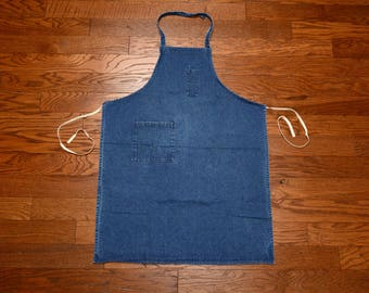 vintage denim apron dark wash handmade homemade indigo denim industrial apron art smock mechanic 60s 70s vintage denim apron