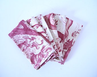 French cotton  table napkins tole de jouy- red print  Set of Six