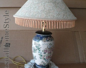 Oriental Table Lamp w Boudoir Parlor Fringed Shade Chinese Ginger Jar Chinoiserie Lamp Top Sellers  Vintage Asian Lamp Hollywood Regency Art