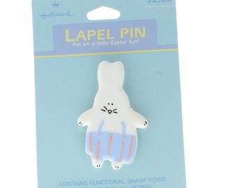 Hallmark Easter Pin Easter Bunny in Striped Overalls