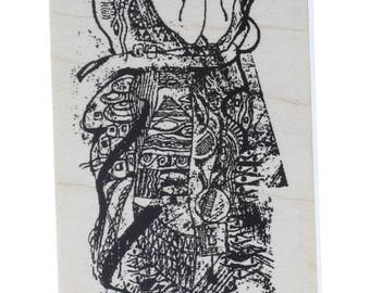 The Gaze Staring Woman Lady Stampington And Co Wooden Rubber Stamp