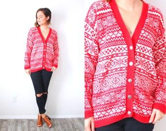 Vintage snowflake aztec christmas cardigan sweater // red christmas sweater // ugly winter sweater // ugly tacky christmas party jumper