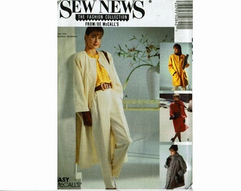 Misses Coat & Scarf UNCUT Sewing Pattern Size Small 10-12 Bust 32 1/2-34 Sew News Fashion Collection McCalls 5084 Easy Uncut Sewing Pattern