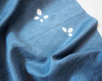 Grey blue Japanese silk, Kimono fabric, Pure Silk, Rinzu Silk, Damask Silk, Steel Blue 1 yard