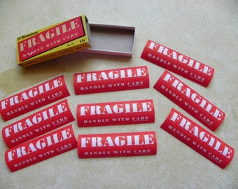 Vintage • Dennison Fragile Handle With Care Gum Paste Stickers Labels | Shipping Collectible Boxes Addressing Mail | Made in the USA