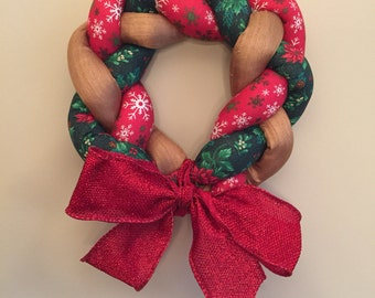 Christmas fabric wreath, fabric braided wreath with bow, Christmas decor, door hanger