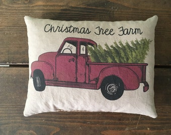 Christmas tree farm and red truck feed sack accent pillow