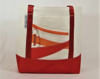 Recycled Sails, Sail Bag, Nautical Gift, Beach Bag, Nautical Bag, Gym Bag, Classic Tote, White Bag, Red Bag, Orange Bag (R3)