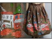 Vintage 1950s Skirt | Novelty Print | 50s Skirt | Brown Skirt | Graphic Skirt |