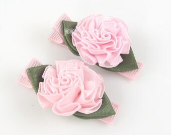 Pink flower hair clips, pink hair clips, pink barrettes, flower hair clips, baby hair clips, girls hair clips, rosette satin rose small pair