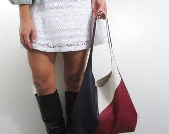color block leather hobo bag large shoulder purse in faux leather navy blue, red, and off white. Christmas sale ready to ship.