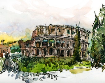Colosseum Coliseum in the evening light, Rome, Italy - archival fine art print from an original watercolor sketch