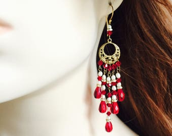 Gorgeous Vintage Inspired Red Swarovski Czech Crystal White Freshwater Pearl Chandelier Earrings Vermeil Gold Plated Sterling Silver Brass
