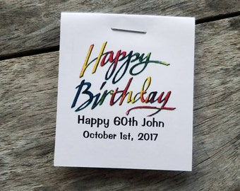 Mini Happy Birthday words Design Flower Seed Favors - Birthday Party Favors - 50th 60th 70th 80th Favors Personalized Seed Packets any age