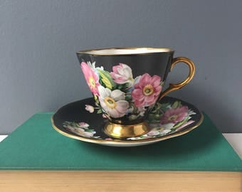 Clarence tea cup black, pink, white and gold - 811-52 English bone china - 1960s