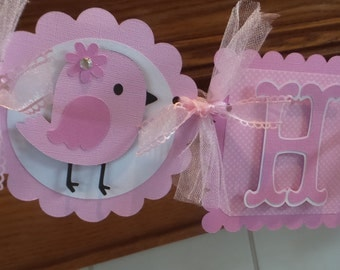 Birdie Pink Happy Birthday Banner, Pink Birdie Banner, 1st Birthday Banner,  Matching Tissue Pom Poms Are Available
