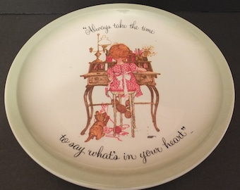 """1972 Holly Hobbie """"Always Take The Time To Say What's In Your Heart""""  Collectors Plate"""