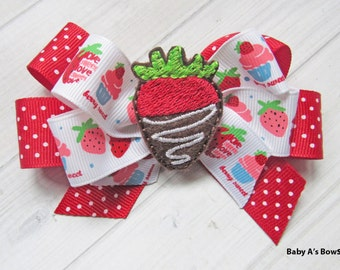 Red Valentine's Bow, Berry Sweet Bow, Strawberry Bow, Valentine's Bow, Valentine's Day, Red Strawberry, Red Polka Dot Bow, Valentine Ribbon