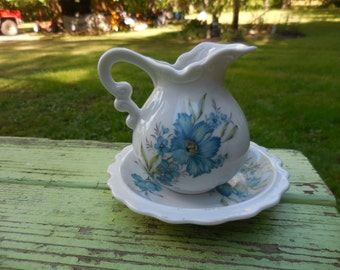 Vintage Porcelain 1960s to 1970s White Pitcher and Basin Blue Cornflowers Miniature/Mini E-4543 Small