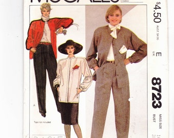 McCall's 8723 Misses' Unlined Jacket  With Stand Up Collar Slim Skirt and Cuffed Pants With Pleats Size 16 Bust 38 Uncut Pattern FF