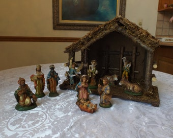 Vintage Nativity set .Christmas decoration .Jesus birth scene. Beautifully painted plastic figures,Made in ITALY ( marked). Gift idea