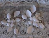 Metal Magnolia wall pair, shabby white decor, painted vintage