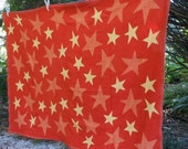 ChappyWrap Blanket Acrylic & Cotton Older USA Made STARS Red/Orange Yellow