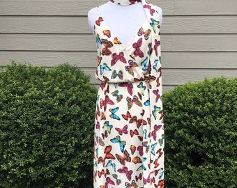 PREORDER - Social Butterfly Dress in Butterfly Print with Scarf Belt - Made in the USA - Classic Vintage Retro Inspired - Marilyn Monroe