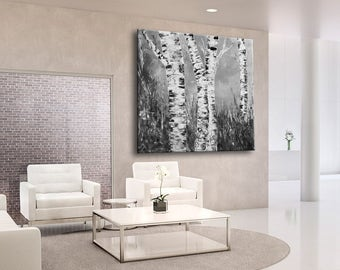 Abstract Forest painting, black and white landscape, birch forest, gray painting, Original Large Forest Painting, square painting, large art