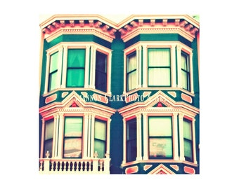 "San Francisco Photography. Girly Wall Art. ""Doll House"". Victorian Style Home. Retro Cute Home Decor. Teal. Pink. Vintage Style. City. House"