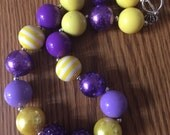 Purple and Yellow Bubblegum Necklace, Chunky Necklace, Bubblegum Beads, Chunky Beads, Children, Baby, Women, Photo prop, Toddler, jewelry,