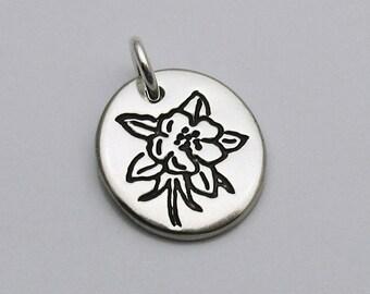Silver Columbine Flower Charm, Silver Columbine Charm, Silver Flower Charm, Colorado Flower, Mountain Flower, Silver Bracelet Charm, Simple